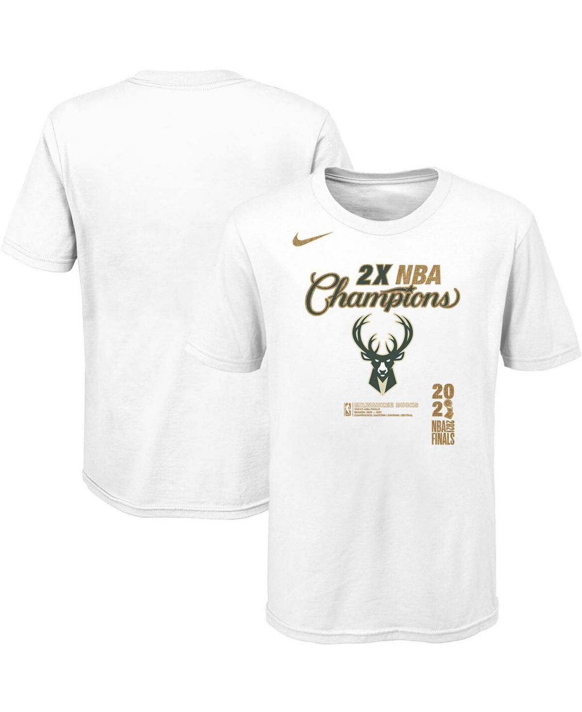 Youth Boys White Milwaukee Bucks 2021 Nba Finals Champions Locker Room T-shirt