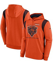Men's Orange Chicago Bears Sideline Logo Performance Pullover Hoodie