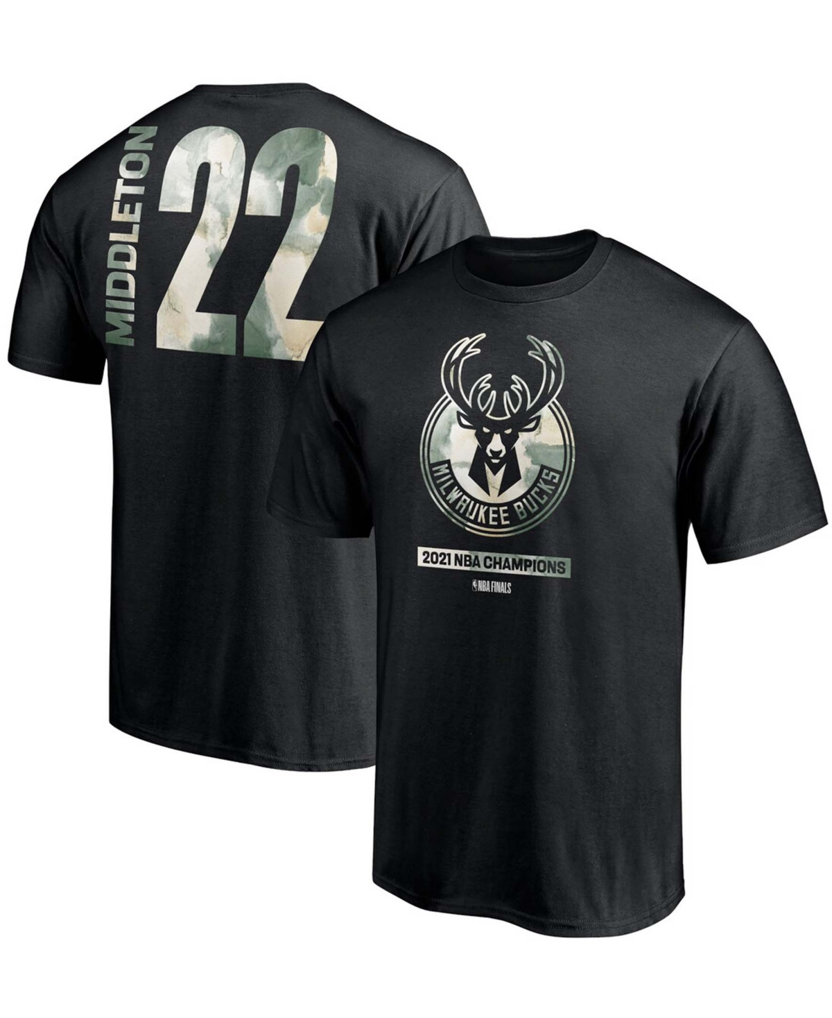Men's Khris Middleton Black Milwaukee Bucks 2021 Nba Finals Champions Believe in The Game Name Number T-shirt