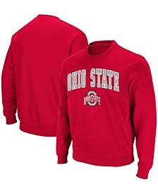 Men's Scarlet Ohio State Buckeyes Team Arch Logo Tackle Twill Pullover Sweatshirt