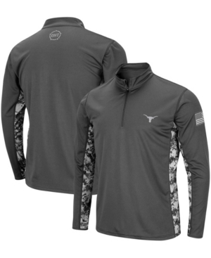 Men's Charcoal Texas Longhorns Oht Military-Inspired Appreciation Digital Camo Quarter-Zip Jacket