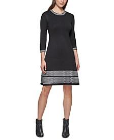 Petite Contrast-Trim Sweater Dress
