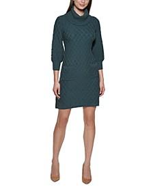 Petite Diamond-Textured Turtleneck Sweater Dress