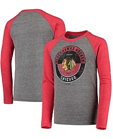 Youth Big Boys Red Chicago Blackhawks Rink Splitter Tri-Blend Raglan Long Sleeve T-Shirt