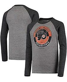 Youth Big Boys Black Philadelphia Flyers Rink Splitter Tri-Blend Raglan Long Sleeve T-Shirt