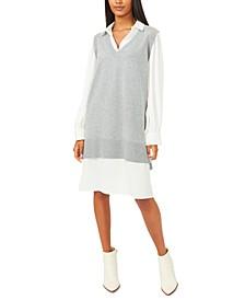 Layered-Look Sweater Dress
