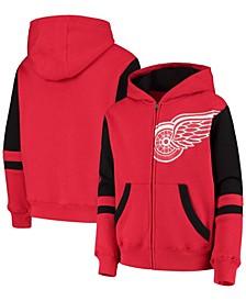 Youth Red Detroit Red Wings Faceoff Colorblocked Fleece Full-Zip Hoodie Jacket