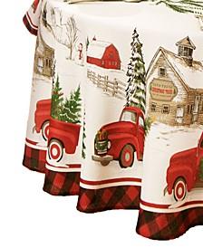 Vintage Christmas Tree Farm Holiday Oval Tablecloth