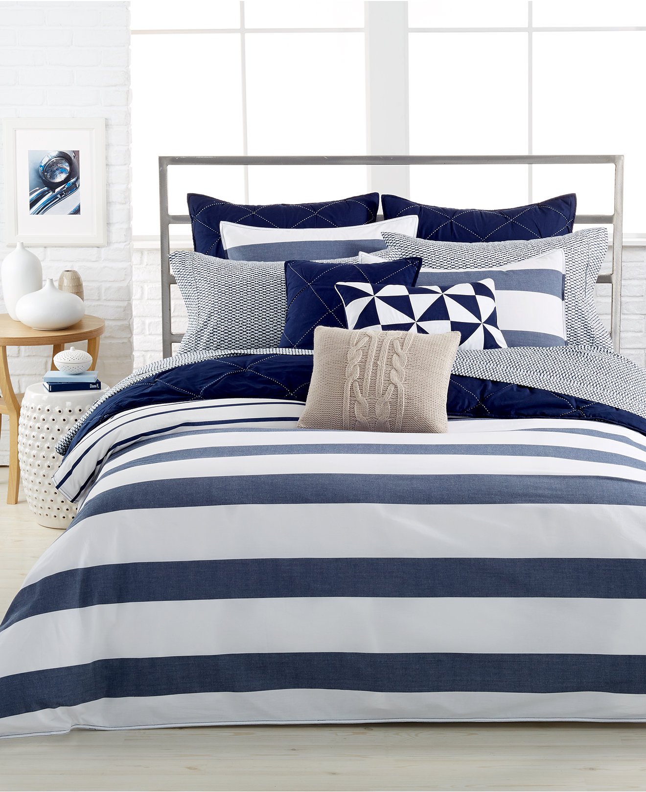 Nautica Bedroom Furniture Nautica Lawndale Navy Bedding Collection 100 Cotton Bedding
