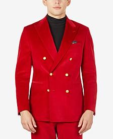 Men's Slim-Fit Bright Red Velvet Suit Separates