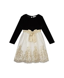 Big Girls Velvet to Embroidered Skirt Dress