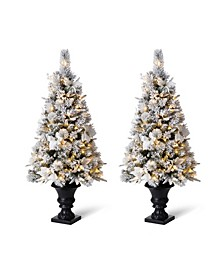 Pre-Lit Pine Artificial Christmas Porch Tree with 100 Warm White Lights Set of Two, 4'