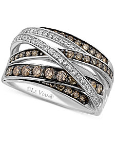 Le Vian White (1/6 ct. t.w.) and Chocolate (3/4 ct. t.w.) Diamond Crossover Ring in 14k White Gold