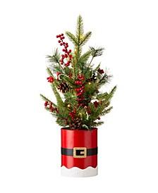 """Lighted Santa Belt Potted Table Tree, 22"""""""