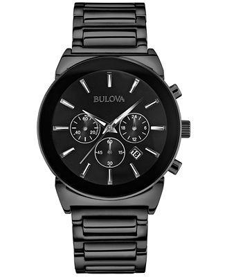 Bulova Men's Chronograph Black-Tone Stainless Steel Bracelet Watch 41mm 98B215