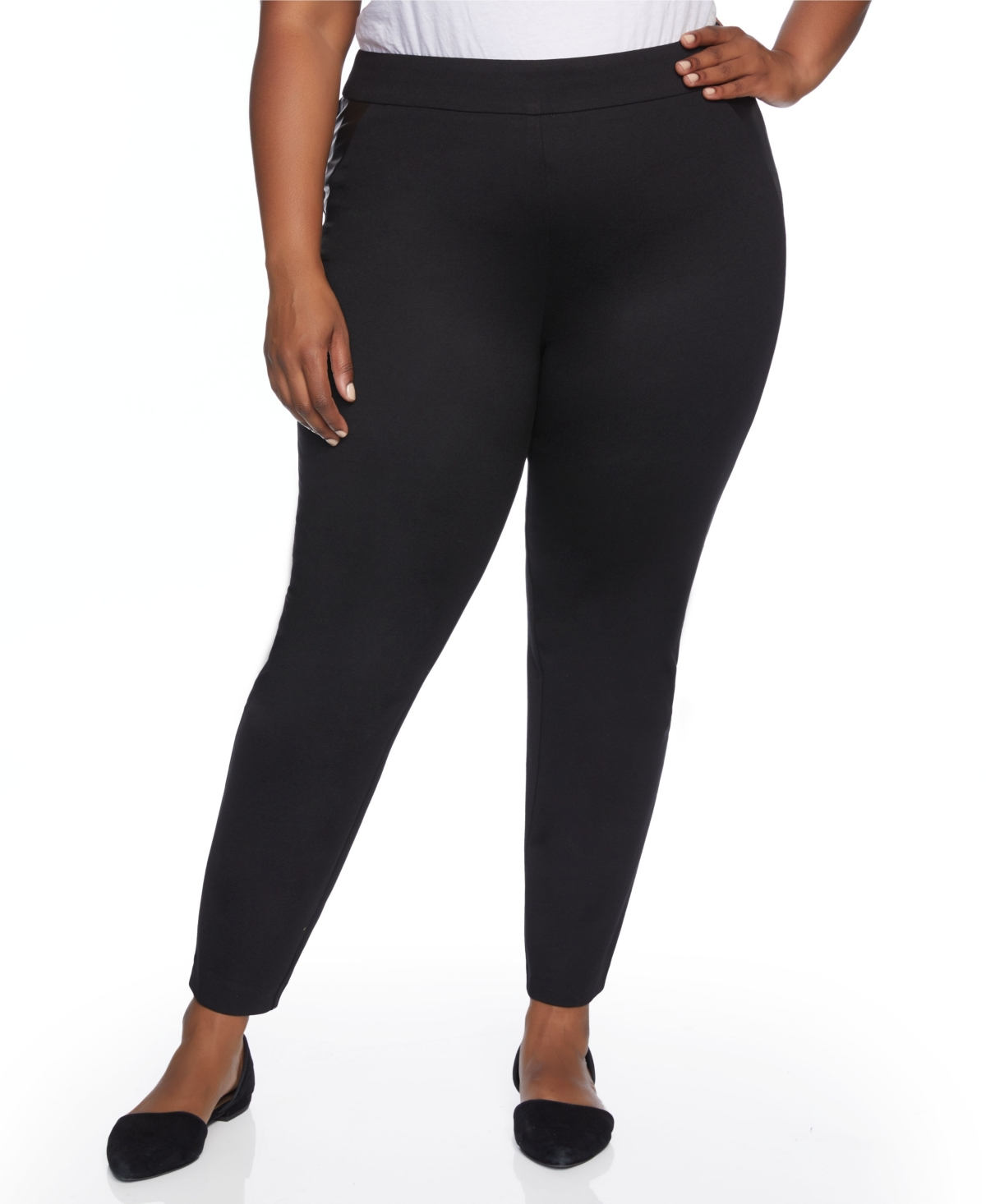 Plus Size Mixed Media Skinny Leg with Faux Leather Inset Pant
