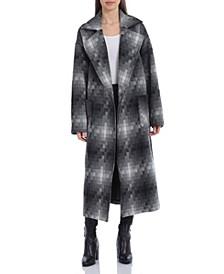 Oversized Double-Face Geo Print Wool Blend Coat