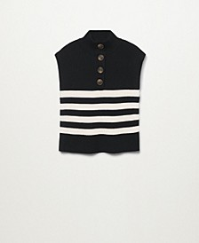 Women's Button-Neck Knitted Vest