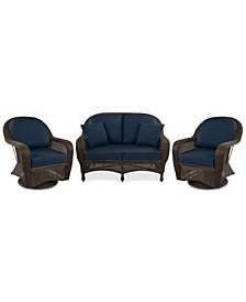 Monterey Outdoor Wicker 3-Pc. Seating Set (1 Loveseat & 2 Swivel Chairs) with Custom Sunbrella®,  Created for Macy's