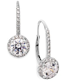 Arabella Cubic Zirconia Leverback Earrings in 14k White Gold (3 ct. t.w.)