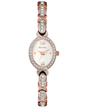 Bulova Women's Crystal Accent Rose Gold-Tone Stainless Steel Bracelet Watch 17mm 98L200