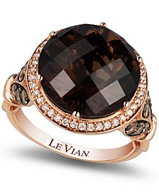Chocolate Quartz® (8 ct. t.w.) and Diamond (3/4 ct. t.w.) Ring in 14k Rose Gold, Created for Macy's