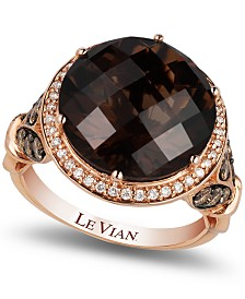 Le Vian Chocolate Quartz® (8 ct. t.w.) and Diamond (3/4 ct. t.w.) Ring in 14k Rose Gold, Created for Macy's