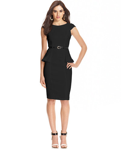 XOXO Juniors\' Cap-Sleeve Peplum Sheath Dress - Juniors Dresses ...