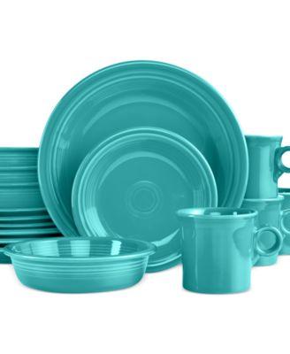 main image  sc 1 st  Macyu0027s & Fiesta 16-Piece Turquoise Set Service for 4 - Dinnerware - Dining ...