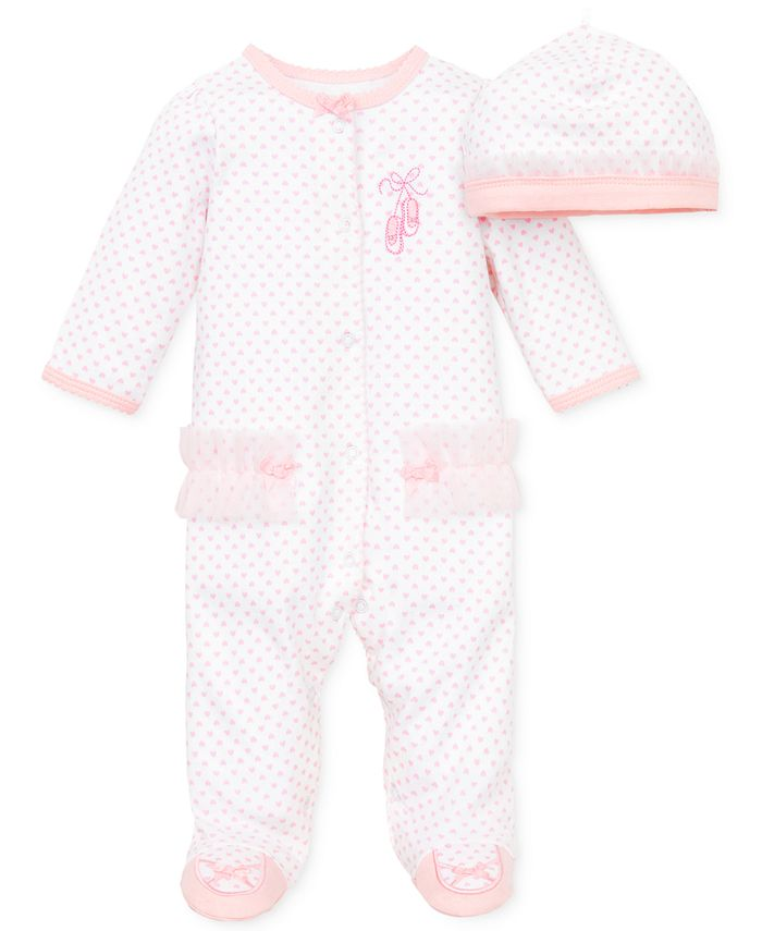 Little Me - Baby Coverall, Baby Girls Coverall with Matching Hat