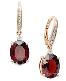 Garnet (6 ct. t.w.) and Diamond Accent Oval Earrings in 14k Rose Gold
