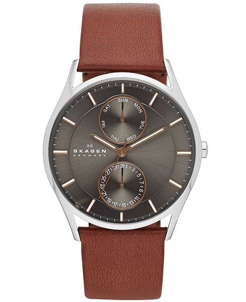 8055a6b88b3 Skagen Men s Holst Brown Leather Strap Watch 40mm SKW6086   Reviews ...