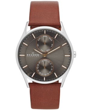 Skagen Men's Holst Brown Leather Strap Watch 40mm SKW6086