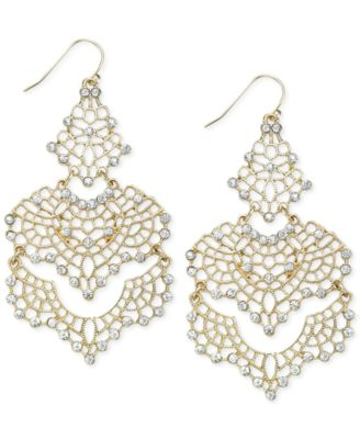 Image of INC International Concepts Crystal Lace Chandelier Earrings