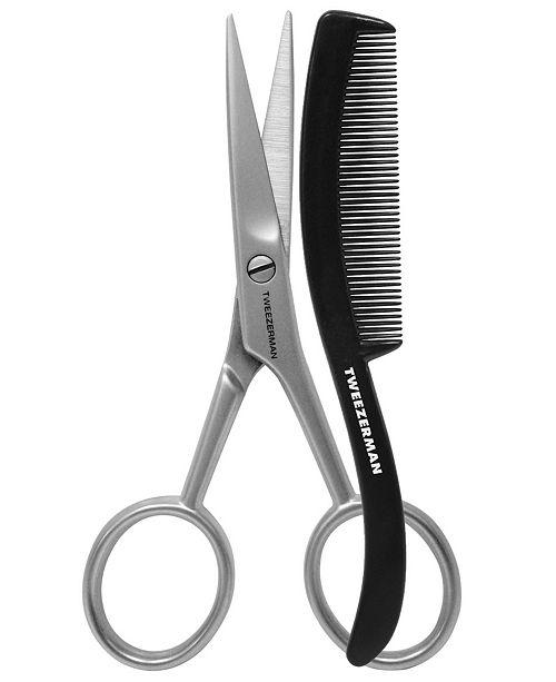 Tweezerman GEAR Men's Moustache Scissors with Comb