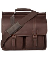 Kenneth Cole Reaction Colombian Leather Dowel Rod Double Gusset Laptop  Briefcase 0de9d007d312f