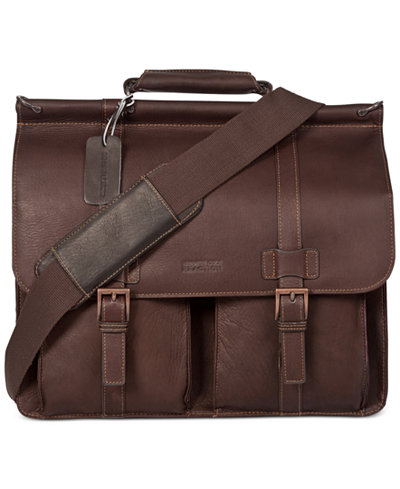 Kenneth Cole Reaction Colombian Leather Dowel Rod Double Gusset Laptop Briefcase