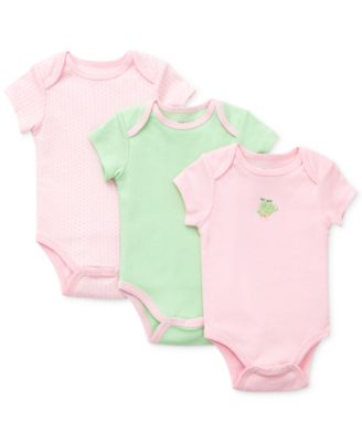 Baby Girls Frog Bodysuits 3-Pack