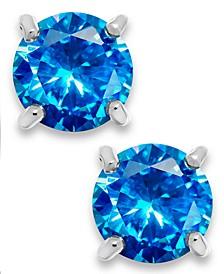 Blue Cubic Zirconia Stud Earrings in Sterling Silver (2 ct. t.w.)