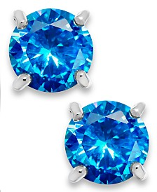Giani Bernini Blue Cubic Zirconia Stud Earrings in Sterling Silver (2 ct. t.w.)