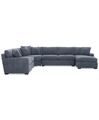 Furniture Radley 5 Piece Fabric Chaise Sectional Sofa Custom