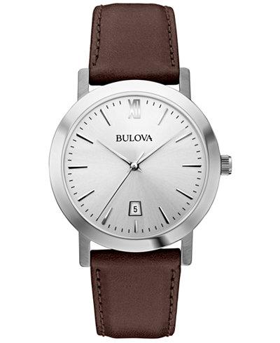 Bulova Unisex Dark Brown Leather Strap Watch 38mm 96B217