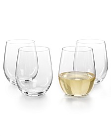 O Viognier and Chardonnay Stemless Wine Glasses 4 Piece Value Set