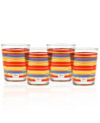 Scarlet Stripe Set of 4 Double Old-Fashioned Glasses