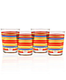 Fiesta Scarlet Stripe Set of 4 Double Old-Fashioned Glasses