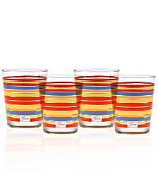Fiesta Scarlet Stripe Set of 4 Double Old-Fashioned Glasses
