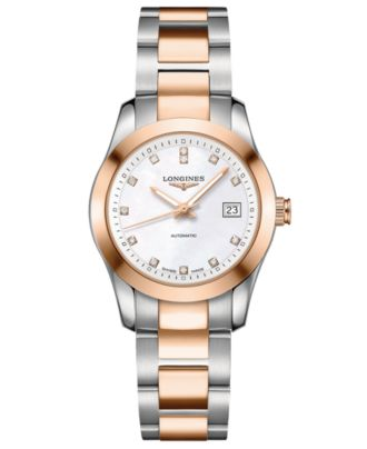 Longines Women's Swiss Automatic Conquest Classic Diamond Accent 18k Rose Gold-Plated and Stainless Steel Bracelet Watch 30mm L22855877