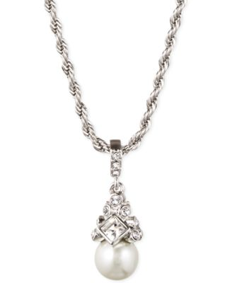 "Image of Givenchy 16"" Silver-Tone Crystal and Glass Pearl Pendant Necklace"