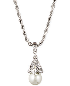 "Givenchy 16"" Silver-Tone Crystal and Glass Pearl Pendant Necklace"