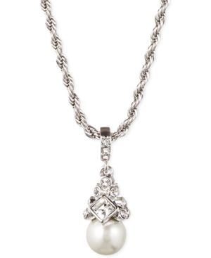 """16"""" Silver-Tone Crystal And Glass Pearl Pendant Necklace"""